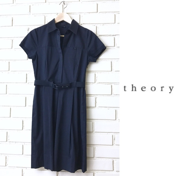 c2c94fc829 Theory Dresses | Trena Dress Navy Blue Belted Career Sz 4 | Poshmark